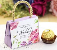 Wholesale 50Pcs Tote Bag Candy Boxes Wedding Decoration Favor Holders Gold Gift Box Wedding Style