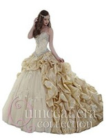 Wholesale New Champagne Quinceanera Dresses Masquerade Ball Gowns With Beaded Vestido De Anos Cheap Quinceanera Gowns