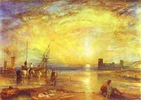 asian wall paintings - William Turner Flint Castle Oil Painting Repro Paintings For Villas Decoration Home Modern Wall Art Pictures Asian Art Prints