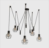 american elevator - Nordic Industrial minimalist restaurant living room chandelier American country creative personality small elevator cage lamps