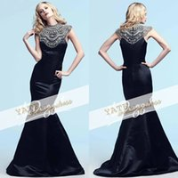 beaded tops for evening wear - Top Selling Crew Mermaid Satin Beaded Crystal Zipper Evening Gowns Winter Collection Prom Party For Women Formal Wear