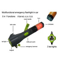 Wholesale Car Safety Tool Emergency Hammer Flashlight in Belt Cutter Window Glass Dynamo cell phone charger escape hammer