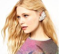 Wholesale Clip Earrings European American fashion gorgeous Rhinestone angel wings ear clip Feather stud earrings E1063 cheap