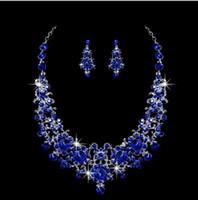 Earrings & Necklace artificial jewellery indian - Blue Artificial bridal jewelry sets bridal jewelry diamond wedding jewelry set wedding jewellery fashion wedding jewelry accessories FJ0185