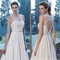 Cheap Pretty Ivory Lace Wedding Dresses Jewel Neckline Chiffon Wedding Gowns With Sash A Line Hollow Back Sleeveless Bridal Dress