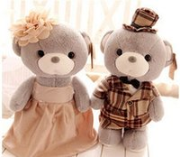 achat en gros de classique mariage ours en peluche-doux en peluche 30cm amant d'ours poupée 2pcs / poupée Stuffedl Placer le tissu de mariage classiques beau cadeau jouets en peluche pour le bébé AB101