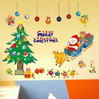 attack wall - Beatiful Santa Father Christmas wall tree sticker kids bedroom decor decoration supply wallpaper attacked decals