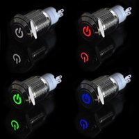 Wholesale Car Truck Boat DIY mm V Angel Eye Aluminum Metal LED Power Push Button Switch Flat Head Switches Colors