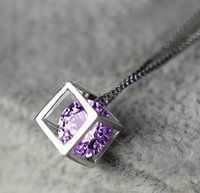 copper alloy - New Fashion jewelry Romantic Three dimensional square zircon pendant necklace copper alloy nick free gift for women girl N1550