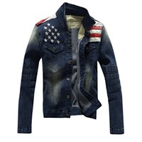 american flag long sleeve - 2016 New Arrival Men Jacket Men casual Jean Coat american flag suit jacket PU leather patchwork distressed antique