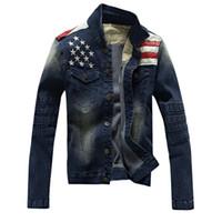 al por mayor chaqueta antigua-2016 nuevos de la llegada hombres de la chaqueta de los hombres casuales chaqueta de traje de Jean Escudo de la bandera americana de la PU de retazos de cuero antigua apenada