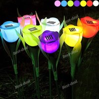 beautiful gardens landscaping - Tulip Style Solar Powered LED Lamp Garden Lawn Light Landscape Light Solar Lawn lamps Outdoor Light Beautiful High Quality Lamp