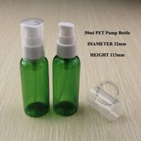 plastic cosmetic bottles - 50g PET Green Cream Jar Bottle Plastic Lotion Pump Spray Cosmetic Container Packaging Makeup Canister Mask Sub bottling