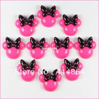 Cheap Wholesale 50pcs Hot Pink Minnie Mouse Black Bow Resin Cabochons Flatbacks Flat Back Girl Hair Bow Center Crafts Embellishments