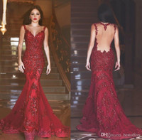 Wholesale Elie Saab Lace Evening Dresses Sweet Sleeveless Floor Length Beaded Crystal Handmade Flower Tulle Wine Lace Tulle Formal Evening Dress RX737