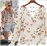 Wholesale 2015 summer new European style colored blouse pattern Dove casual V neck long sleeved chiffon shirt tether