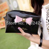 Wholesale New Women s Clutch Wallets Colors PU Leather Bow Jelly Handbag Shoulder Messenger Bag Change Purse