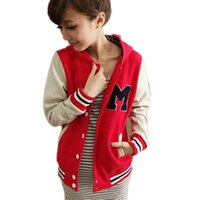 Cheap Autumn and Winter Letter M Varsity Jacket Long Sleeve Baseball jacket Coat Sportwear For women With a Dot Hoody S,M,L