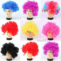 Gold adult clown wig - New Party Wigs Colorful Afro Clown Hair Child Adult Costume Football Fan Wig Hair Halloween Rainbow Red Black Colors for Football
