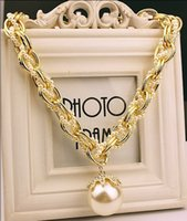 Wholesale Fashion Big Pearl Necklace for women Female Long Chain Pearl Choker Necklaces Pendants statement women jewelry bijouterie collares