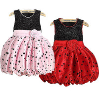 Wholesale Cutely2 Y Kid Girls Summer Flower Polka Dot Bubble Wedding Princess Party Dress