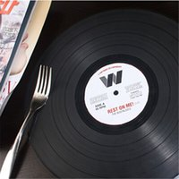 vinyl record - 10pcs Vintage Black Vinyl Retro Record Dining Table Mat Round Silicone Dinner Table Mat Placemat