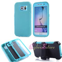 silicone gel - For Galaxy S6 Robot Armor Impact Hybrid in1 Soft Gel Silicone Cell Phone Back Case Cover with Belt Clip Screen Dust Plug For Galaxy G9200