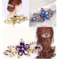 Wholesale 2015 Hot Fashion Women Crystal Flower Rhinestone Hair Pins Hairpins Clip Barrette Twinkling Hairpin Tiara Hair Accessories