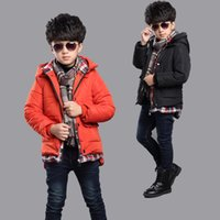baby lightweight jacket - Baby winter coat three color plaid jacket coat thickened boys clothing boys thicken cotton clothing lead suit jacket sleeve lightweight
