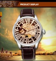 style vintage romaine Nombre automatique auto-Vent classique horloge creux Skeleton Golden Dial mens en cuir montres marque de luxe