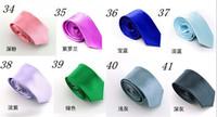 Wholesale Fashion Mens jacquard woven Skinny Solid Color Plain Satin Tie Necktie
