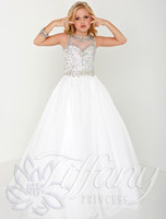 Cheap Beautiful girl beauty dress features high neckline, sweetheart tights and dazzling crystal beads decoration unique design girl dress formal