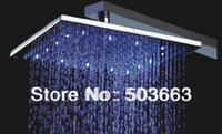 Wholesale 16 Inch Color Water Power Big Stainless Steel Square LED Temperature Sensitive Rainfall Shower Head A