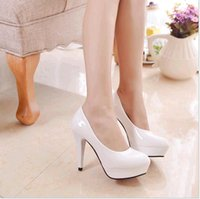 Wholesale Simple Pure color high heel shoes new platform career office peep toe simple pumps Artificial PU leather women dress shoes Beige White Black