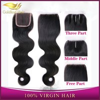 Wholesale cheap Unprocessed A Brazilian Virgin Human Hair Weaves Body wave Lace Top Closure Bleached Remy Hair Dyeable