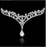 Wholesale The New Star Street snap Bride Crown forehead decorative Crystal Pendant Necklace with Wedding Accessories For Women