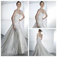 Cheap Elegant Sheath Wedding Dresses New Arrival 2015 Sweetheart Cap Sleeves Lace Applique Zipper Back Court Train Bridal Gowns Demetrios 1451