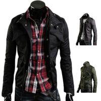 Wholesale S5Q Mens Korean Long Sleeve Slim Fit Stand Collar Jacket Coat Zip Casual Outwear AAAEDP