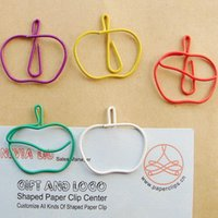 apple office free - MM colorful apple Paper Clips bookmark in Blister Card Office supply cheap wholsale
