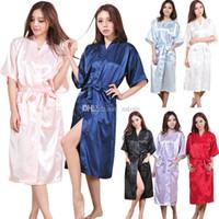 Wholesale Hot Sales Women Lady Bath Robe Night Dress Sleepwear Kimono Satin Long Sexy NX210