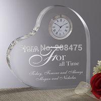 glass table clock - wedding crystal clock crystal heart clock glass table clock for wedding present