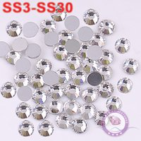 Wholesale SS3 SS30 Clear Crystal Non Hotfix loose Nail Art Rhinestones Glass Crystals Round Flatback For DIY motifs Garment Accessories