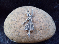 ballerina necklace vintage - 50pcs x14mm Antique Silver Ballerina Girl Charm Necklace Pendant Fashion New Vintage Charms Jewelry Accessories