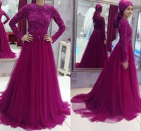 Wholesale 2016 Long Sleeve Muslim Evening Dresses Elegant Real Image Celebrity Gown Purple Plus Size Evening Gowns High Neck Burgundy Prom Dresses