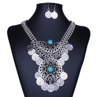 Wholesale Gypsy Beads Coin Fringe Tassel Hollow Round Bib Statement Necklace Earrings Set Gypsy Antalya Silver Festival Turkish