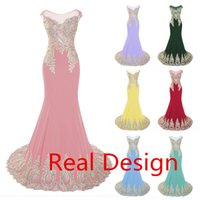 arabic design photos - Real Design Colorful Chiffon Sheer Neck Dresses Party Evening With Gold Embroidery Lace up Mermaid Prom Arabic Dresses In Stock