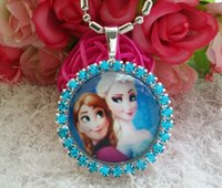 baby princess decorations - 10pcs Children Baby Girl Frozen Elsa princess button rhinestone Pendant Jewelry Necklace wedding Cabochon Decoration Dress Turquoise Xmas