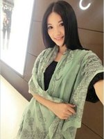 Wholesale Promotion Price High Quality Vintage Chiffon Scarf GREEN FLOWER Print Georgette Echarpes Silk Scarves Shawl For Women