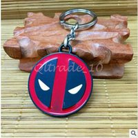Wholesale 50pcs CCA3395 High Quality cm Super Hero Deadpool Comics Metal Keychain Cartoon Keyring With Sealed Retail Package Portable Bag Pendent