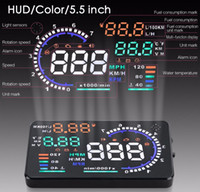 Wholesale 5 quot Large Screen Auto Car HUD Head Up Display KM h MPH Overspeed Warning Windshield Project Alarm System OBD2 OBD Interface